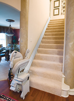 The arms, seat and footrest flip up, creating plenty of space to walk up the stairs.